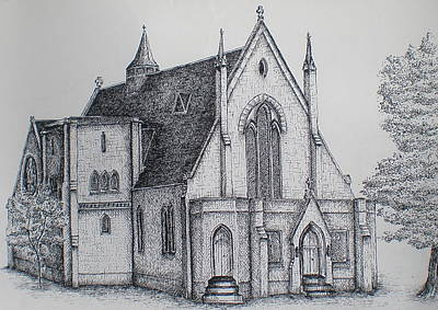 Drawing - Rosemount Parish Church by Sheep McTavish
