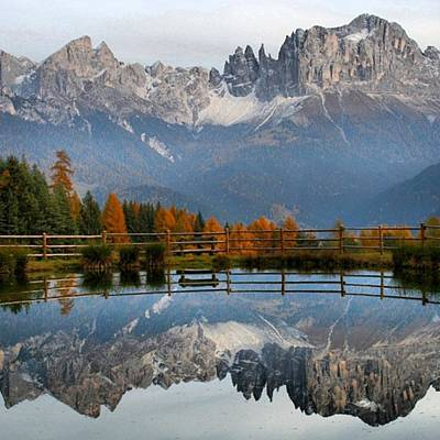 Reflection Photograph - Rosengarten - Dolomites by Luisa Azzolini