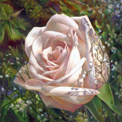 Painting - Roses And Baby's Breath by Nancy Tilles