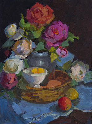 Painting - Roses And Basket by Diane McClary