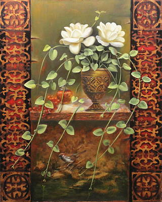 Painting - Roses And Ivy by Loretta Fasan