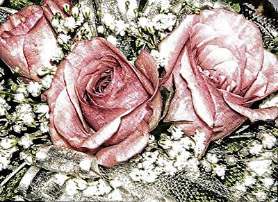 Roses And Lace Art Print by Michelle Frizzell-Thompson