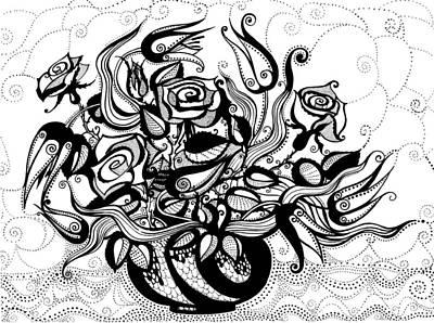 Roses And Tulips Art Print by Ievgeniia Lytvynovych