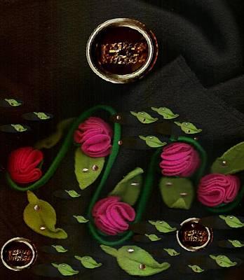 Flamenco Mixed Media - Roses From The Flamenco Scene by Pepita Selles