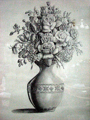 Still Life Painting - Roses In A Vase by Amani Al Hajeri