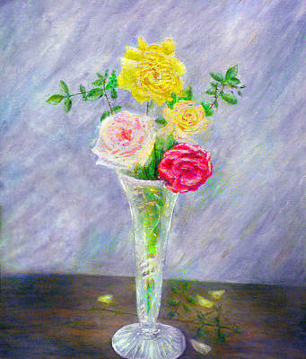 Vase Painting - Roses In A Vase by Ronald Haber