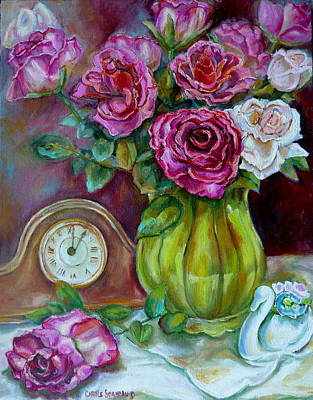 Painting - Roses In A Vase Still Life by Carole Spandau