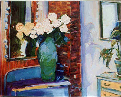 Wall Art - Painting - Roses In Reflections by Pauline Hauder