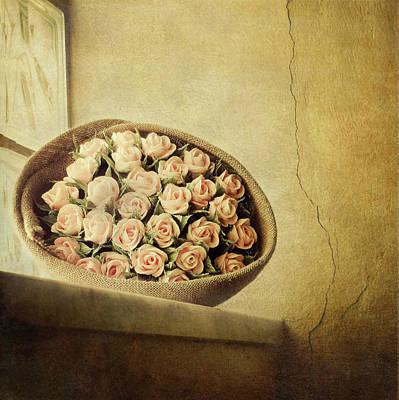 Roses On Window Print by Marco Misuri