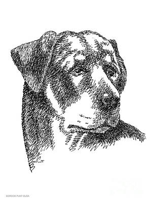 Drawing - Rottweiler-drawing by Gordon Punt