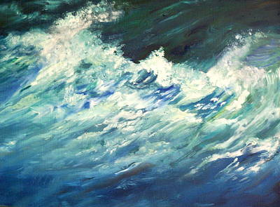 Incoming Tide Painting - Rough Seas by Terry Roberson-Wagener