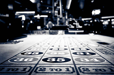 Photograph - Roulette Table In Black And White by Anthony Doudt