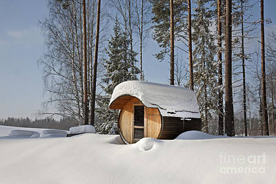 Round Barrel Sauna In The Snow Print by Jaak Nilson