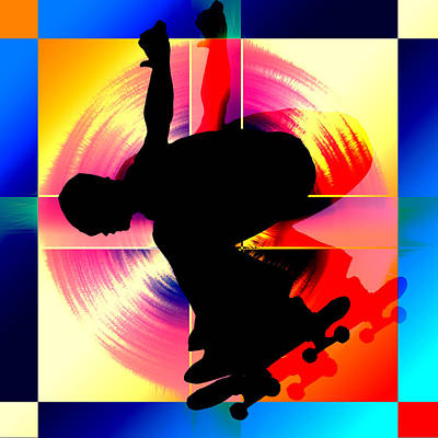 Extreme Sports Painting - Round Peg In Square Hole Skateboarder by Elaine Plesser