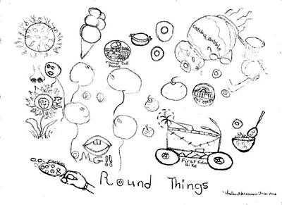 Abstract Drawing Drawing - Round Things Abstracts And Symbols Drawing by Thelma Harcum