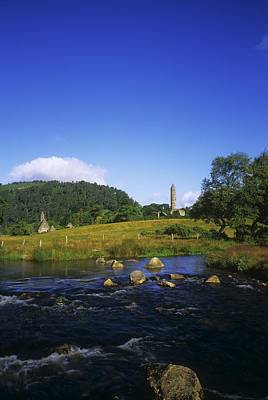 Round Tower And River In The Forest Art Print by The Irish Image Collection