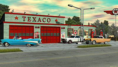 Digital Art - Route 66 1960 Texaco Gas Station  by Walter Colvin