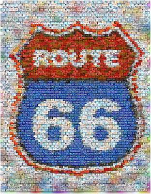 Montage Mixed Media - Route 66 License Plate Mosaic by Paul Van Scott