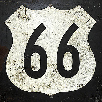 Photograph - Route 66 Road Sign by Cheri Randolph
