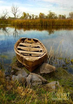 Row Boat At Edge Of River Art Print by Jill Battaglia