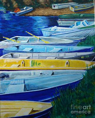 Painting - Row Boats by LJ Newlin