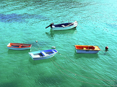 Row Boats On Turquoise Water Art Print