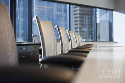 Row Of Chairs And A Table In A Conference Room Art Print by Jetta Productions, Inc