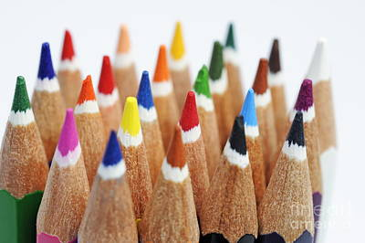 Photograph - Row Of Colorful Crayons by Sami Sarkis