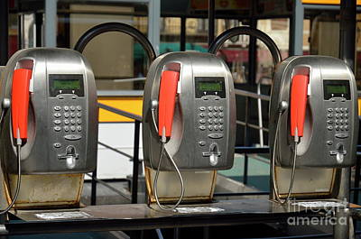 Row Of Pay Phones In Venice Art Print by Sami Sarkis