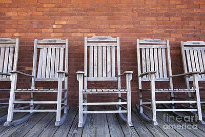 Row Of Rocking Chairs Art Print by Skip Nall