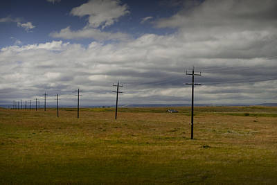 Telephone Poles Photograph - Row Of Utility Poles On The Prairie by Randall Nyhof
