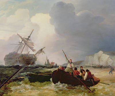 Boats In Water Painting - Rowing Boat Going To The Aid Of A Man-o'-war In A Storm by George Chambers
