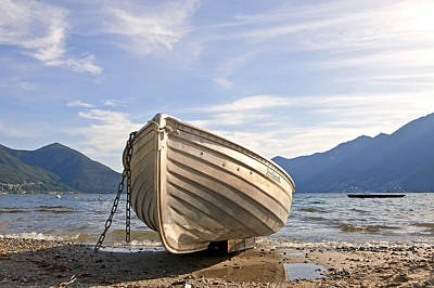 Mountain View Photograph - Rowing Boat On Lake Maggiore by Joana Kruse