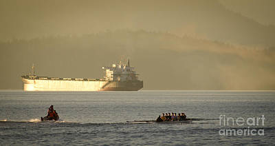 Ship Photograph - Rowing Tanker Training Off Sunset Beach Park Downtown Vancouver Bc Canada by Andy Smy