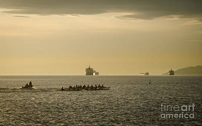 Rowing Training Off Sunset Beach Park False Creek Vancouver Bc Canada Art Print by Andy Smy