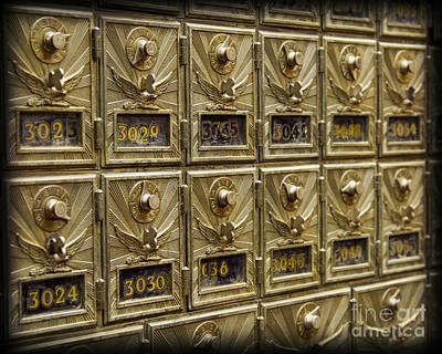 Rows Of Post Office Mailboxes With Combination Locks And Brass O Art Print by ELITE IMAGE photography By Chad McDermott