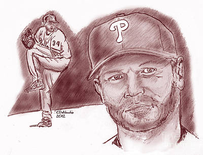 Drawing - Roy Halladay Doc by Chris  DelVecchio