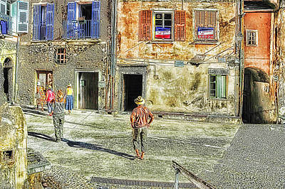 Photograph - Roya Valley Saorge Walking In Place De La Republique by Enrico Pelos