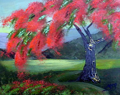 Flamboyan Tree Painting - Royal Poinciana At Dusk by Maria Soto Robbins