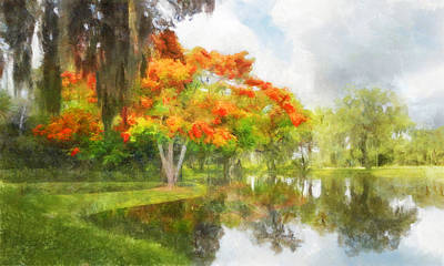 Digital Art - Royal Poinciana Lake by Francesa Miller