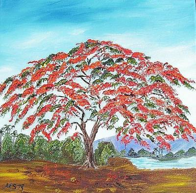 Painting - Royal Poinciana Lake by Maria Soto Robbins
