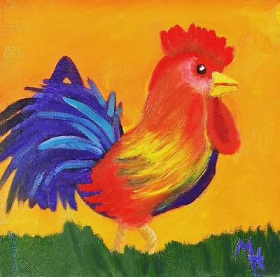 Art Print featuring the painting Royal Rooster by Margaret Harmon