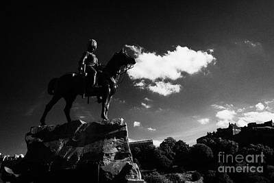 Royal Scots Greys Boer War Monument In Princes Street Gardens With Edinburgh Castle In The Backgroun Art Print by Joe Fox