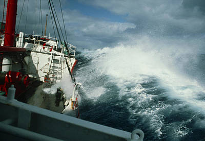 Rrs John Biscoe In Heavy Seas, Drake's Passage Art Print by David Vaughan