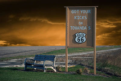 Bed Quilts Digital Art - Rt 66 Towanda Signage by Thomas Woolworth
