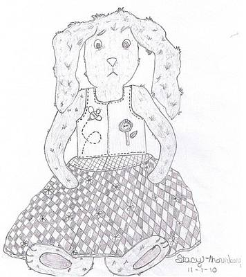 Primitive Drawing - Ruby Rabbit Doll by Stacy Thornberry