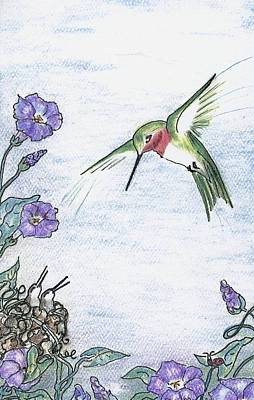 Ladybug Drawing - Ruby-throat In The Vinca by Dianne  Mallory