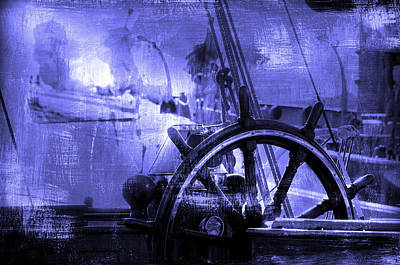 Observer Photograph - rudder in blue - A vintage sail vessel rudder by Pedro Cardona