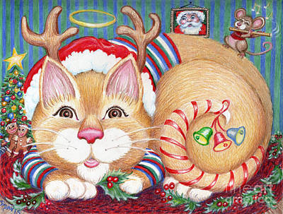Drawing - Rudolph The Pink Nosed Dear Cat by Dee Davis