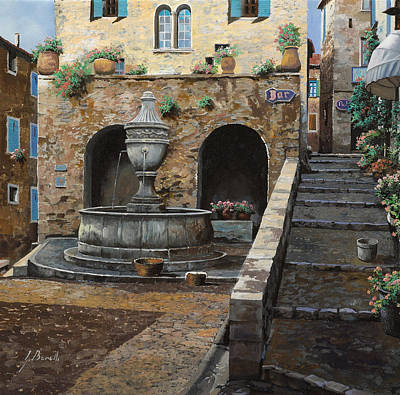 Popstar And Musician Paintings Royalty Free Images - Rue du Bresc a St Paul de Vence Royalty-Free Image by Guido Borelli